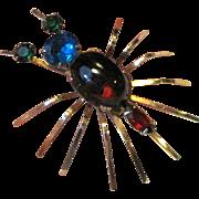 1940's Reinad Bug Pin w/ Rhinestone Body