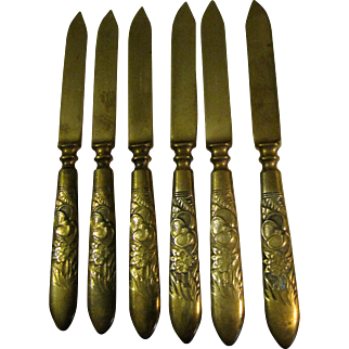 6 Nevada Gold Metal Fruit Knives, Early 20th C