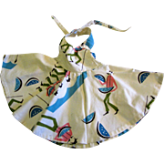 Full Circle Skirt Halter Neck Sundress for Medium Doll, Fun Melon Print!