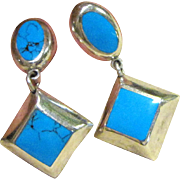 Mexican Sterling & Faux Turquoise Earrings, 19 grams