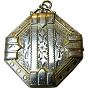 Art Deco Rolled Gold Locket by P.S. Co,, Engraved Floral Design