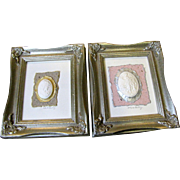 Harris @ $25 Pair of Small Framed Mixed Media Cameo Art Collages by Roger Riege