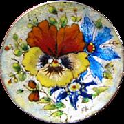 Scandinavian Sterling Silver Enamel Flower Pin