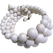 1950's Graduated White Bead Memory Wire Bracelet