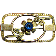 Classic Art Deco Gold Filled Pin w/ Blue Paste Stone