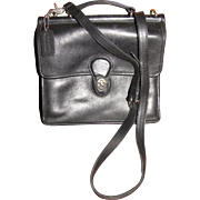 "Coach ""Willis"" Purse, Black Leather, Nickle Silver Fittings"