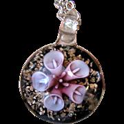 Venetian Art Glass Pendant on Silver-tone Chain