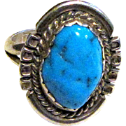 Navajo Style Sterling Turquoise Ring Sz 7 3/4, Beautiful Color!