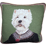 Harris, Small Wool Petite Point & Needlepoint Terrier Pillow, Down Insert, Pristine!