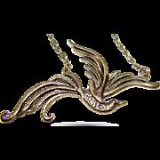 Bronze Tone Flying Bird Bird of Paradise Necklace