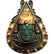 Mexican Aztec Warrior Face Copper & Jade Pin Pendant