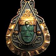 Mexican Aztec Warrior Face Copper & Jade Pin Pendant