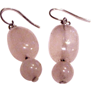 Sterling & Pink Quartz Dangle Earrings