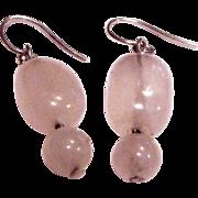 Sterling & Pink Quartz Dangle Earrings