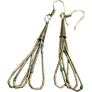 Native American Sterling & Turquoise Liquid Silver Earrings