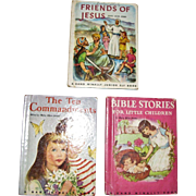 Three Children Books - Friends of Jesus - Bible Stories for Little Children - The Ten Commandments, HC, Rand McNally Books, c1950's