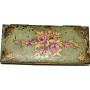 1940s Floral Hold-A-Pak Cigarette Case (Triple Pak), Hand Painted Tin, Rare