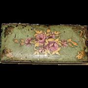 1940sFloral Hold-A-Pak Cigarette Case (Triple Pak), Hand Painted Tin, Rare