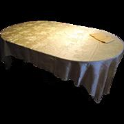 "Summery 100"" Yellow Floral Damask Tablecloth, 6 Bonus Napkins"