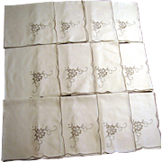 "Twelve 16"" Taupe Floral Embroidered Napkins, Mint"