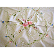"Large 65"" Diameter Circular Embroidered Tablecloth"