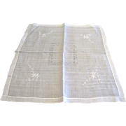 "40"" Sq Linen Batiste Tablecloth w/ Drawn Thread Work & Embroidery"