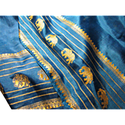 "68"" x 22"" Vibrant Turquoise Silk Scarf w/ Gold Elephants!"