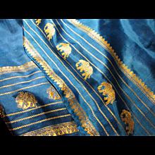 "68"" x 22"" Vibrant Turquoise Silk Scarf w/ Gold Elephants!"