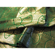 "Vintage Indian 72"" Emerald Silk & Gold Thread Evening Stole"