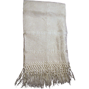 "Art Deco Heavy Linen Damask ""Show Towel"" w/ Hand Tied Fringes"