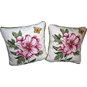 Harris, Pair Williamsburg Wool Needlepoint Floral Pillows