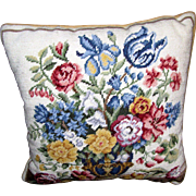 "Beautiful 16"" Floral Vase Wool Needlepoint Pillow"