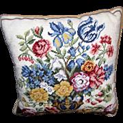 "Beautiful 16"" Floral Vase Wool Needlepoint Pillow"