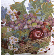 "Wool Needlepoint & Petite Point 16"" Fruit & Floral Pillow"