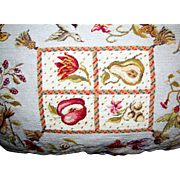 "22"" by 16"" Needlepoint & Petite Point Fruit & Birds Pillow"