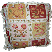 "21"" Petite Point Pillow w/ Heraldic Beasts, Feather & Down Insert"