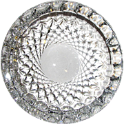 "Cut Leaded Crystal Ashtray 7"", Waterford, Colleen Pattern Diamond & Thumbprint, Mint"