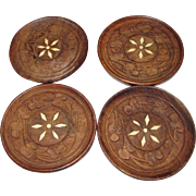 Four Bone Inlay Teak Carved Coasters
