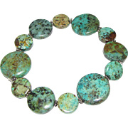 Turquoise Stretch Bracelet w/ Sterling Spacers, US Made, Never Worn