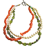 "18"" Coral, Freshwater Pearl, Sterling & Art Glass Necklace, 134 grams"