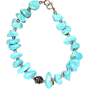 "Turquoise Chunk Bracelet w/ Sterling Spacers 7 1/2"", 12 1/2 grams"