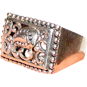 Sterling Filigree Paisley Design Ring, Size 6, 8 grams