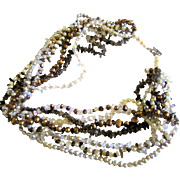 "7 Strand Quartz & Fresh Water Pearl 19"" Necklace w/ Sterling Clasp"