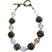 "Sterling Flower & Agate Bead 7"" Bracelet"
