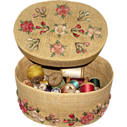 Vintage Basket Full of (65+) Wooden Cotton Spools
