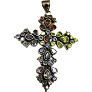 "Large 3"" Sterling & Gemstone Cross Pendant, 23 grams"