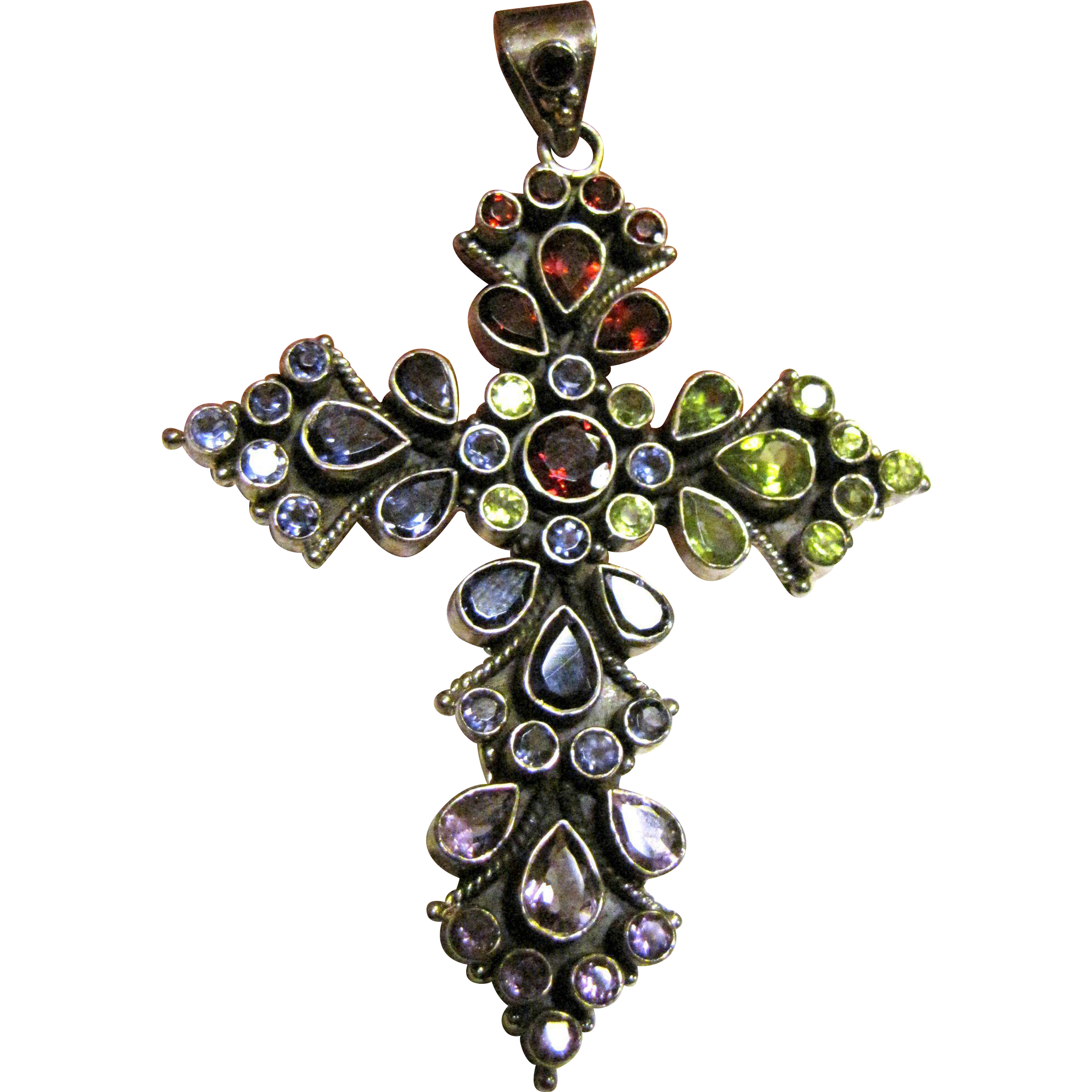 large 3 quot sterling gemstone cross pendant 23 grams from