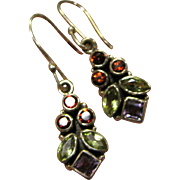 "Sterling & Gemstone 1 1/2"" Earrings, 6 grams"