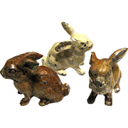 3 Antique German Cast Metal Bunnies