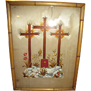 Georgian Religious Painting & Embroidery on Silk